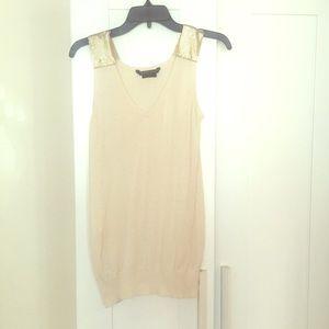 BCBG MaxAzria sleeveless top w/ gold-shoulder-XS